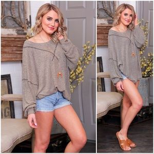 ✨LAST ONE✨Taupe-Black Blended Slouchy Tunic